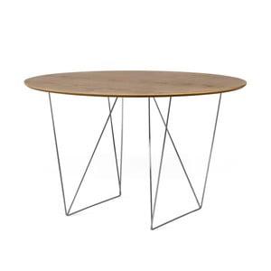 Jedálenský stôl v dekore orechového dreva s pochrómovaným podnožím TemaHome Row, Ø120 cm