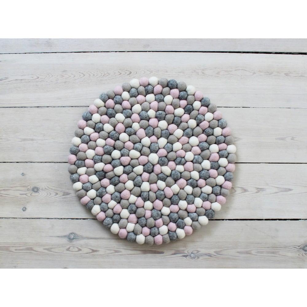 Svetlý ružovo-sivý guľôčkový vlnený vankúš na sedenie Wooldot Ball Chair Pad, ⌀ 39 cm