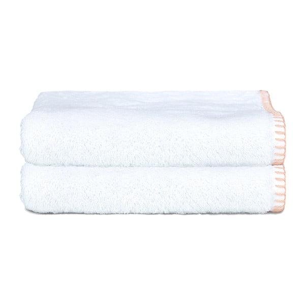 Sada 2 uterákov Whyte 50x90 cm, biela/lososová