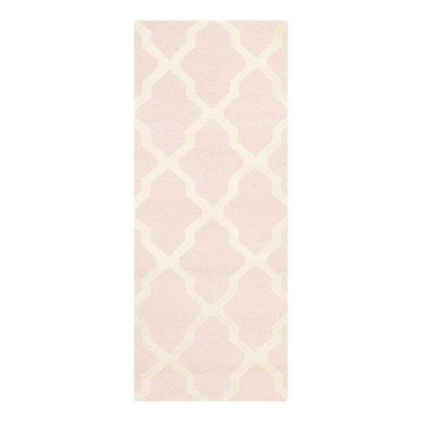 Vlnený koberec Ava Baby Pink, 76x243 cm