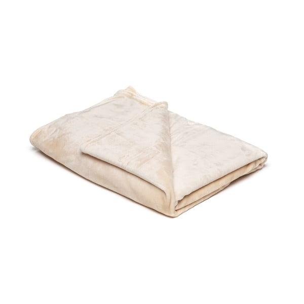Svetlobéžová mikroplyšová deka My House, 150 × 200 cm