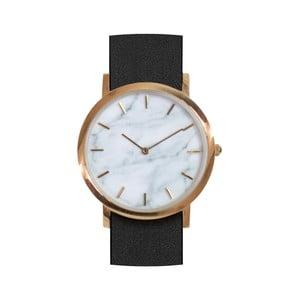 Biele mramorové hodinky s čiernym remienkom Analog Watch Co. Classic