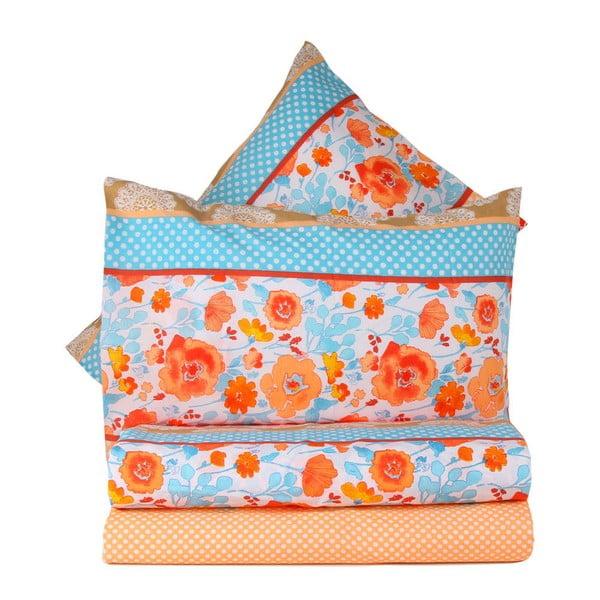 Oranžové obliečky s plachtou Love Colors Novel, 160 x 220 cm
