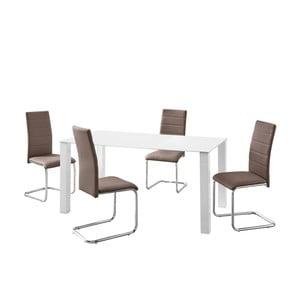 Sada stola a 4 hnedých stoličiek Støraa Naral