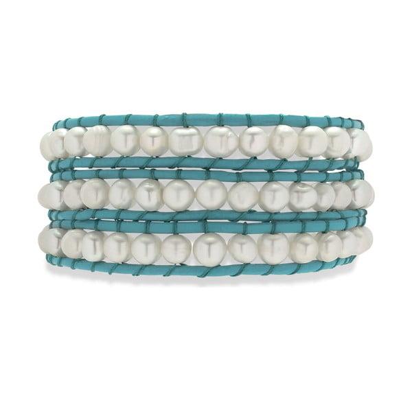 Modro-biely kožený náramok s perlami Nova Pearls Copenhagen Néreus