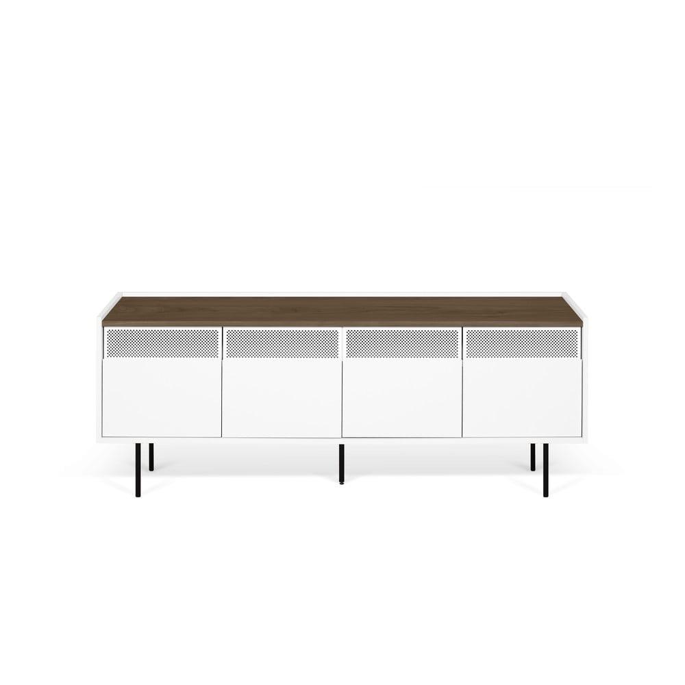 Biely televízny stolík s doskou v dekore orechového dreva TemaHome Radio, 160 × 60 cm