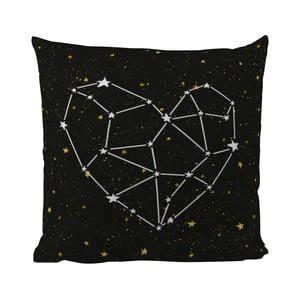 Vankúš Black Shake Star Heart, 50x50 cm
