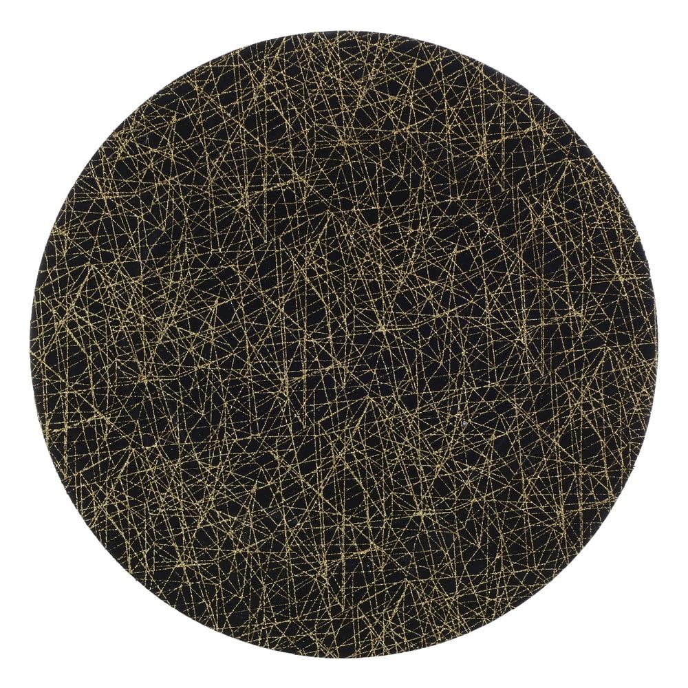 Čierny plastový tanier InArt Golden, ⌀ 33 cm