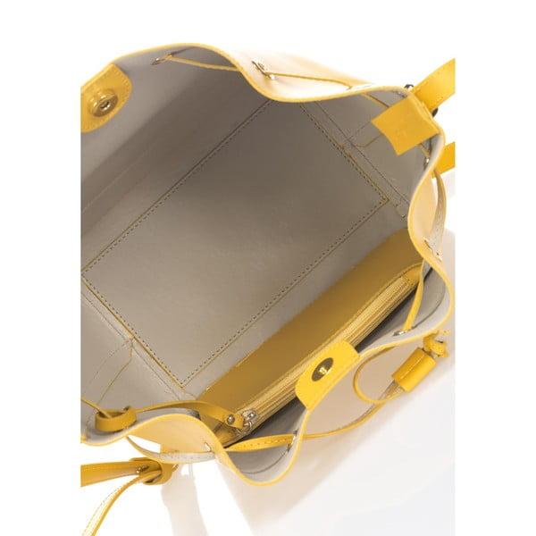 Kožená kabelka Krole Klara, žltá