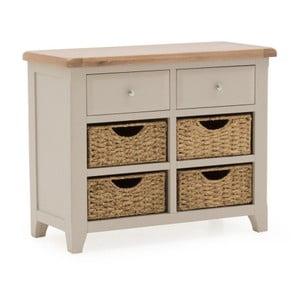 Konzolový stolík z akáciového dreva s 2 zásuvkami a 4 košíkmi VIDA Living Clemence