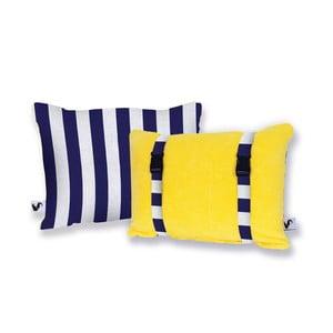 Žltý obojstranný plážový vankúš Origama Blue Stripes