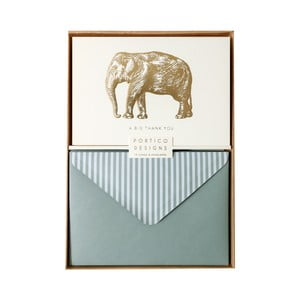 Sada 10 komplimentiek s obálkami Portico Designs FOIL Big Elephant