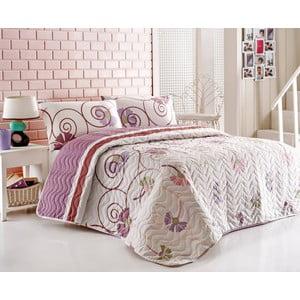 Prikrývka na posteľ a obliečky na vankúš Daydream Lilac, 200x220 cm