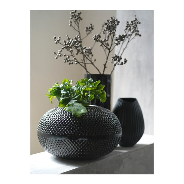 Čierna váza Fuhrhome Oslo, Ø 15cm