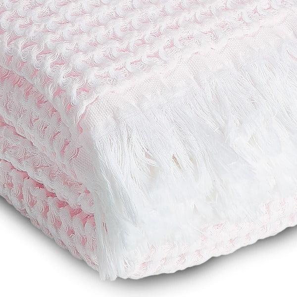 Osuška Whyte 100x160 cm, biela/ružová