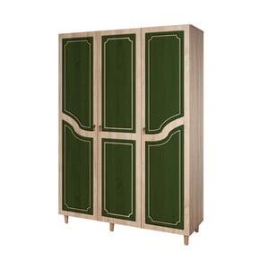 Trojdverová šatníková skriňa Mode Retro Green, 135×192 cm