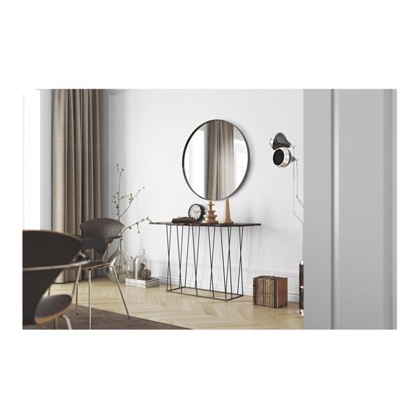 Hnedý mramorový konzolový stolík s čiernymi nohami TemaHome Helix