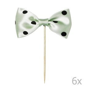 Sada 6 zelených zapichovacích dekorácií na tortu Miss Étoile Bow