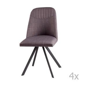 Sada 4 svetlosivých otočných jedálenských stoličiek sømcasa Cris