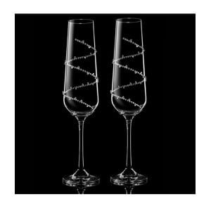 Sada 2 pohárov na šampanské Tethys so Swarovski Elements v luxusnom balení