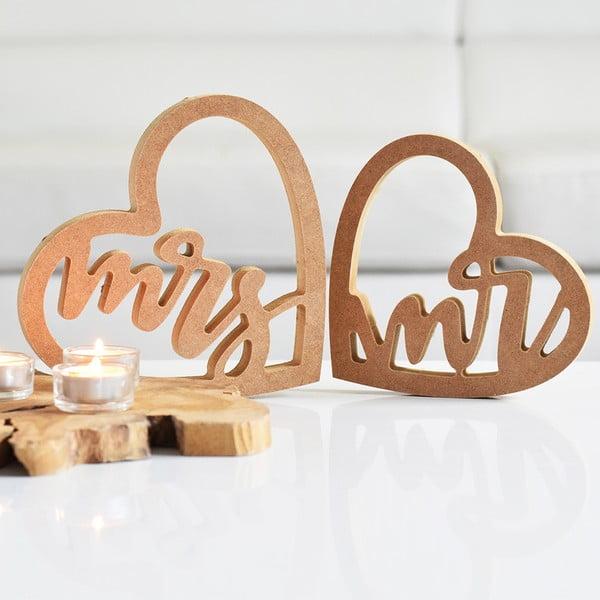 Sada 2 drevených dekorácií Srdce - Mr. and Mrs., prírodné
