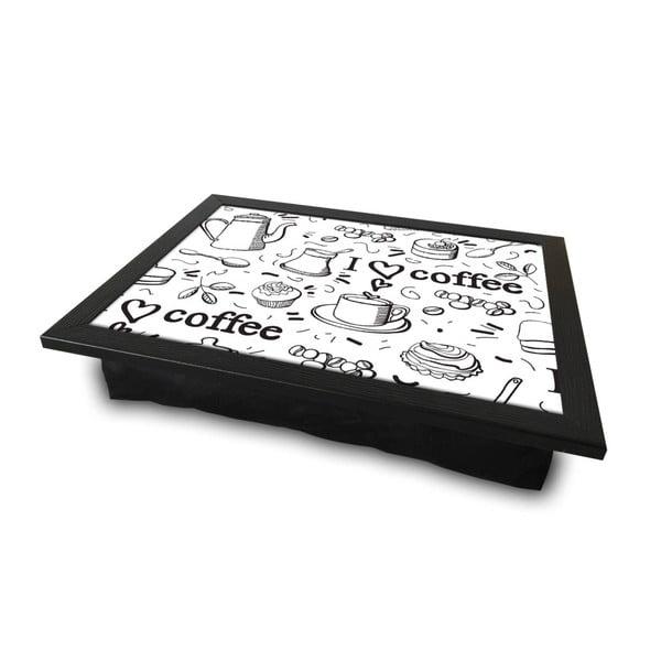 Servírovací podnos s vankúšom na spodnej strane Quirky Coffe, 36 × 46 cm