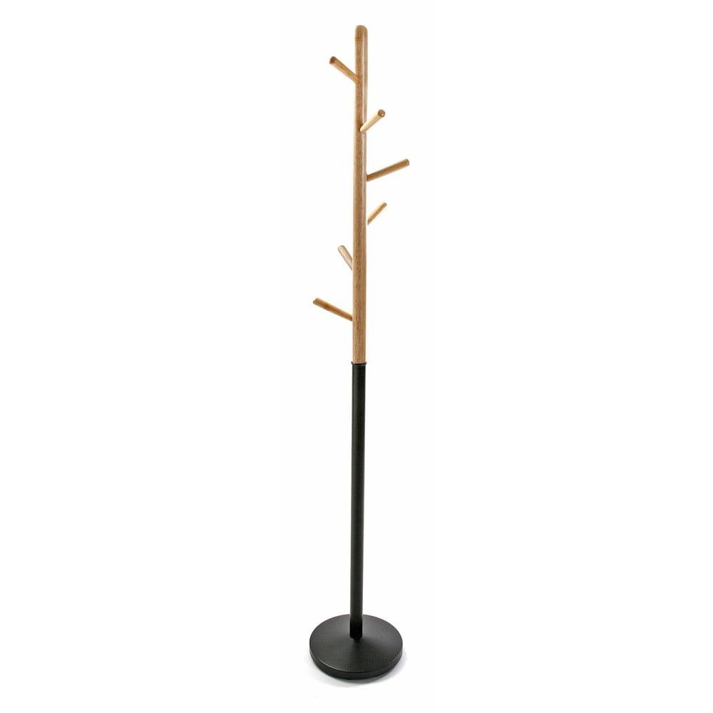 Čierny vešiak s drevenými prvkami VERSA Clothes, výška 180 cm