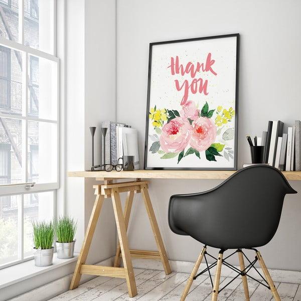 Plagát s ružovými kvetmi Thank You, 30 x 40 cm