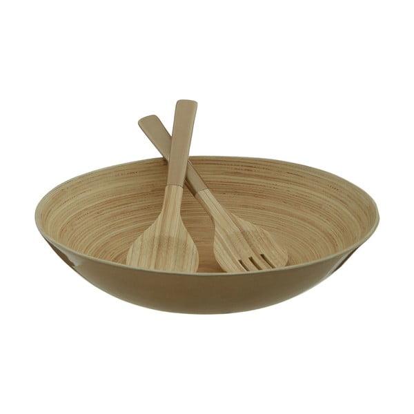 Šalátový príbor z bambusu v zlatej farbe Premier Housowares Kyoto, ⌀30 cm