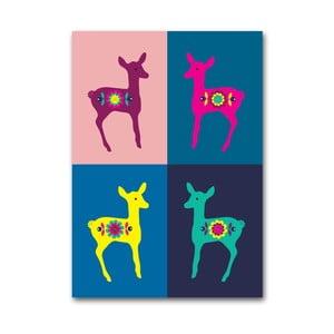 Plagát Srnky Warhol pastel, stredný