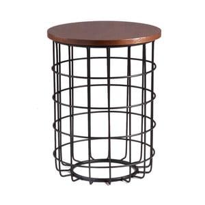 Čierny odkladací stolík sdoskou vdekore orechového dreva sømcasa Elmo