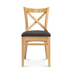 Drevená stolička s čiernym polstrovaním Fameg Hagen
