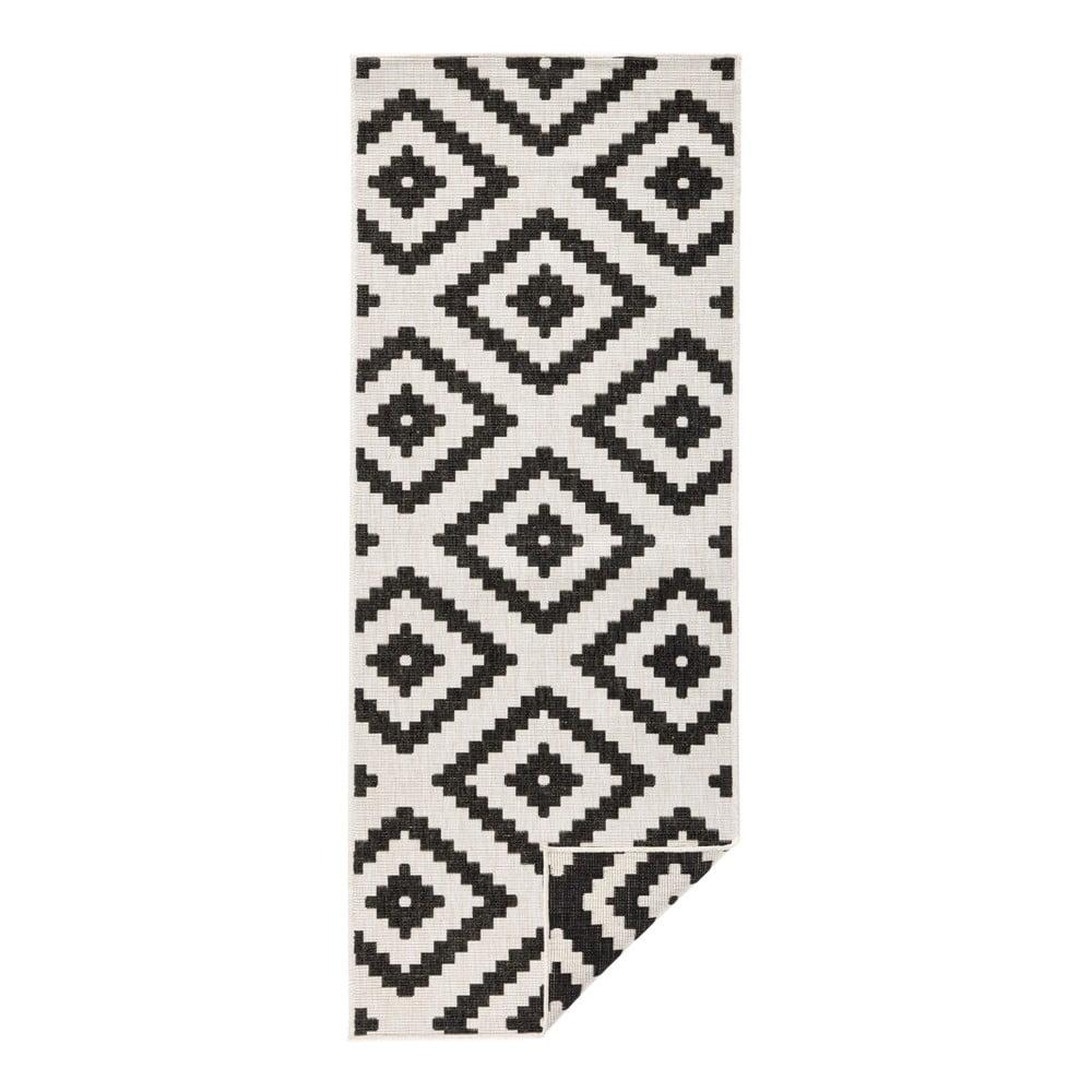 Čierno-krémový vonkajší koberec Bougari Malta, 80 x 350 cm