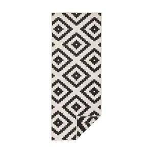Čierno-krémový vzorovaný obojstranný koberec Bougari Malta, 80×350 cm
