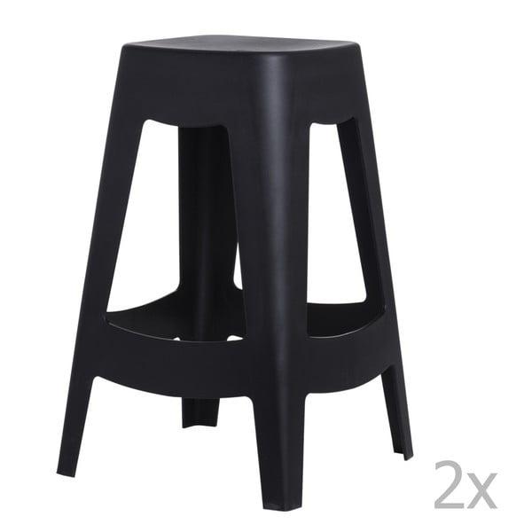 Sada 2 barových stoličiek D2 Tower, čierna
