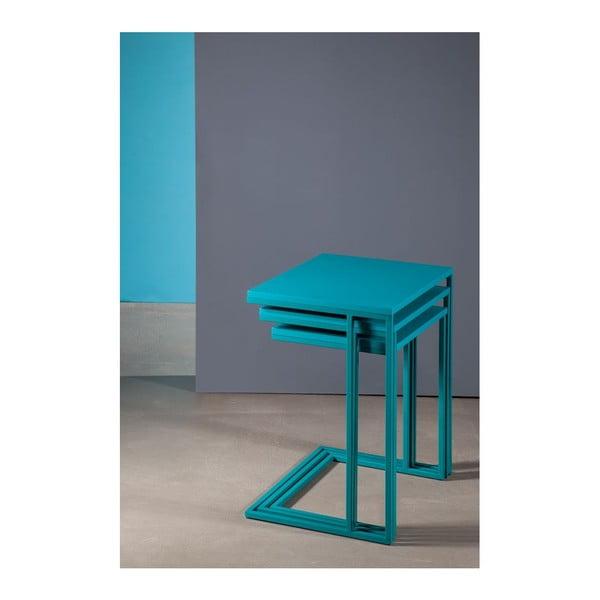 Sada 3 stolíkov Cercis Nesting Turquoise