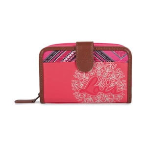 Ružovo-biela peňaženka Lois, 14 x 9 cm