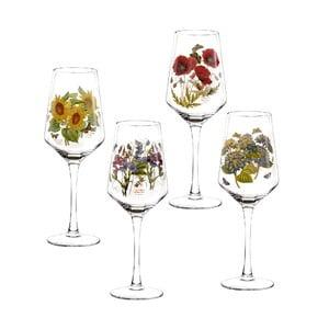 Sada 4 ks pohárov na víno s motívom kvetín Portmeirion, 450 ml