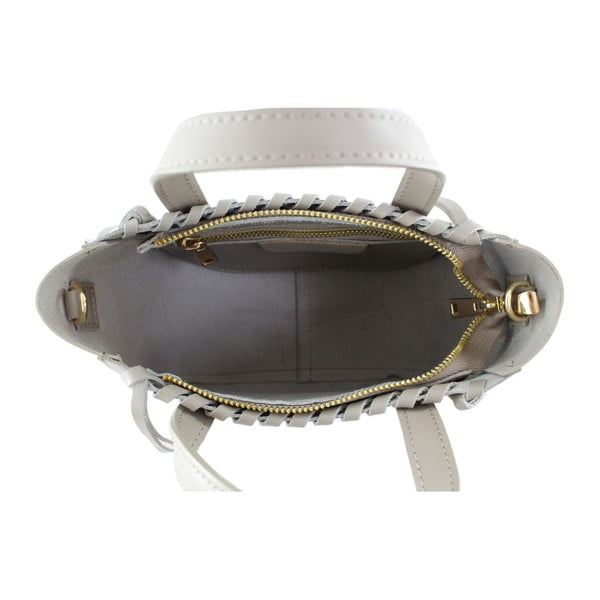 Sivobéžová kožená kabelka Chicca Borse Anna