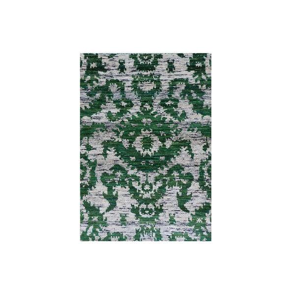 Zelený vlnený koberec Ikat, 230x160 cm