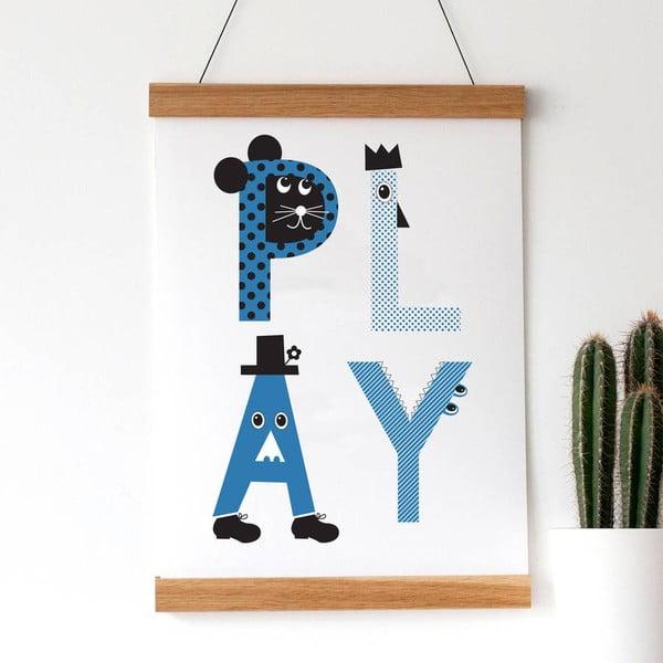 Plagát Play Blue, 30x40 cm