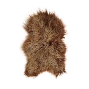 Hnedá ovčia kožušina s dlhým vlasom, 90 x 60 cm