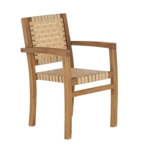 Krémová záhradná stolička z recyklovaného teakového dreva SOB Garden