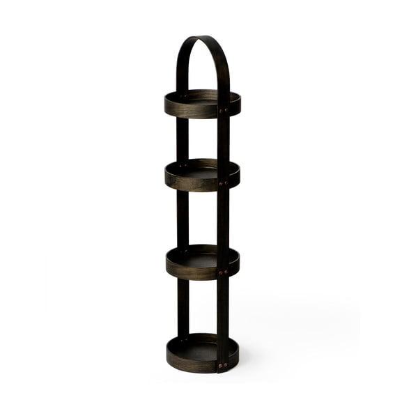 Drevený stojan do kúpeľne Wireworks Round Caddy Dark, 4 police