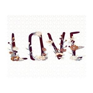 Plagát v drevenom ráme Flower love, 38x28 cm