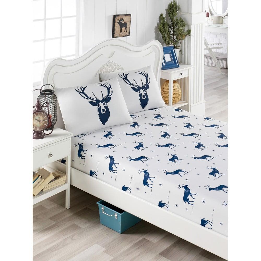 Set obliečky a 2 obliečok na vankúše s prímesou bavlny na dvojlôžko EnLora Home Geyik Dark Blue, 160 × 200 cm