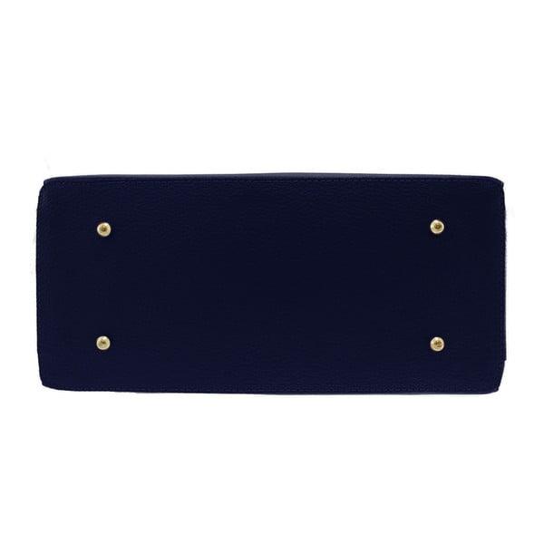 Modrá kožená kabelka Chicca Borse Blair
