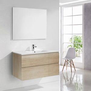 Kúpeľňová skrinka s umývadlom a zrkadlom Capri, dekor dreva, 100 cm