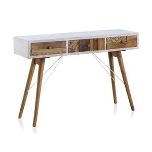 Konzolový stôl s bielymi detailmi a troma zásuvkami Geese Rustico Puro
