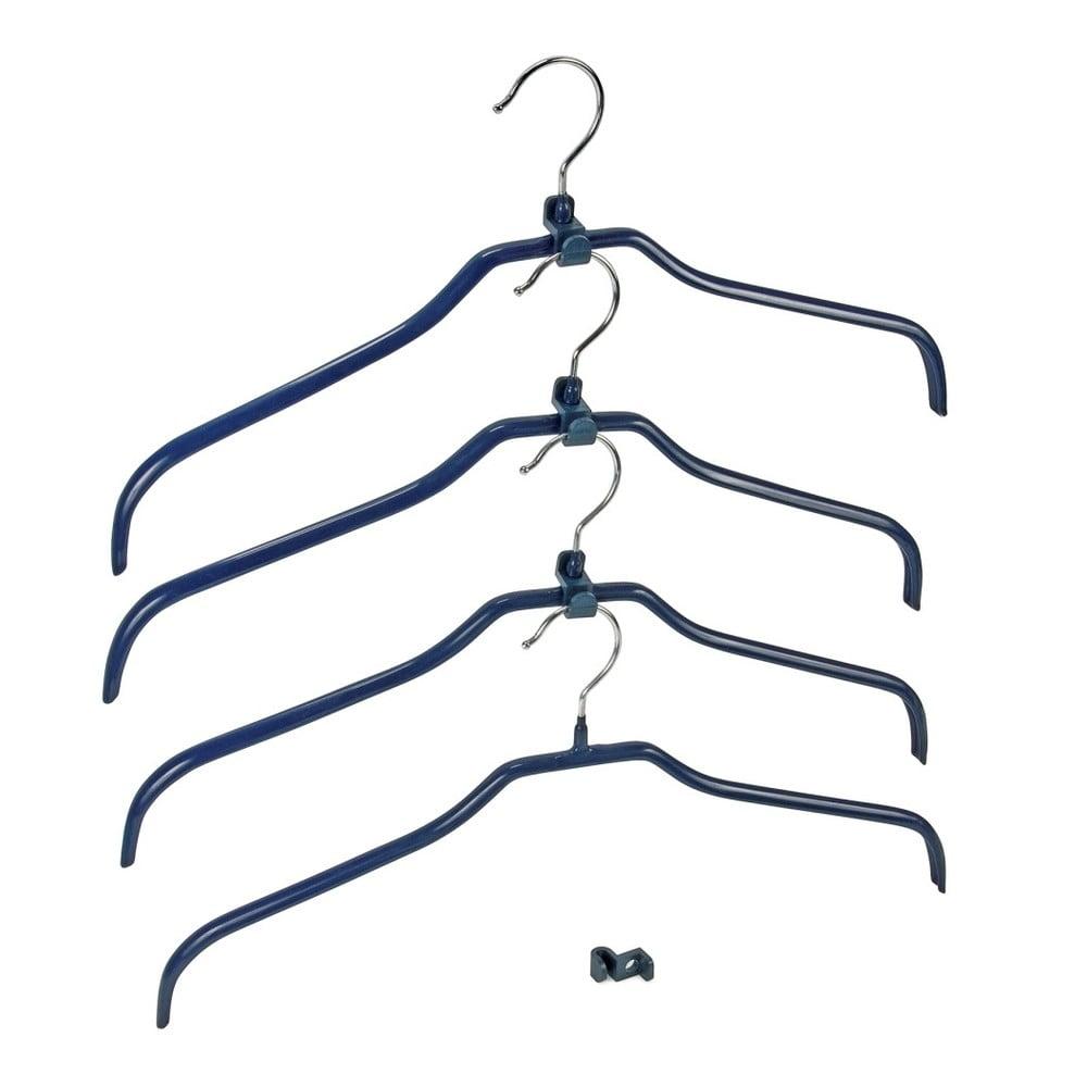 Sada 4 modrých protišmykových vešiakov na oblečenie a držiakov Wenko Hanger Slim